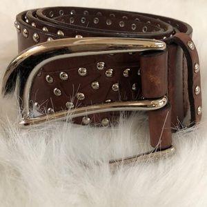 Michael Kors brown leather studded belt.